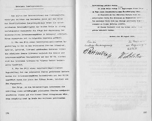The secret appendix to the Molotov-Ribbentrop Pact naming the German and Soviet spheres of interest. The document is signed by Soviet Foreign Minister Vyacheslav Molotov and German Foreign Minister Joachim von Ribbentrop.