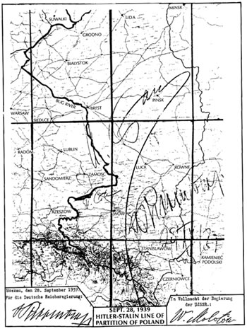 The map from the secret appendix to the Molotov-Ribbentrop Pact showing the new German-Soviet border. The map is signed by Joseph Stalin and German Foreign Minister Joachim von Ribbentrop.