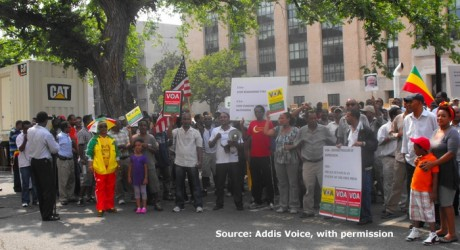 A demostration against censorship by the BBG of VOA programs to Ethiopia.