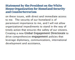 White House Statement on the Global Engagement Directorate